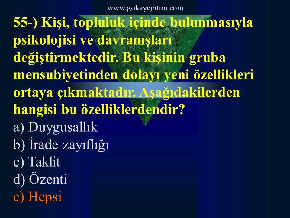 www.gokayegitim.com 55-) Kişi, topluluk içinde bulunmasıyla psikolojisi ve davranışları değiştirmektedir. Bu kişinin gruba mensubiyetinden dolayı yeni