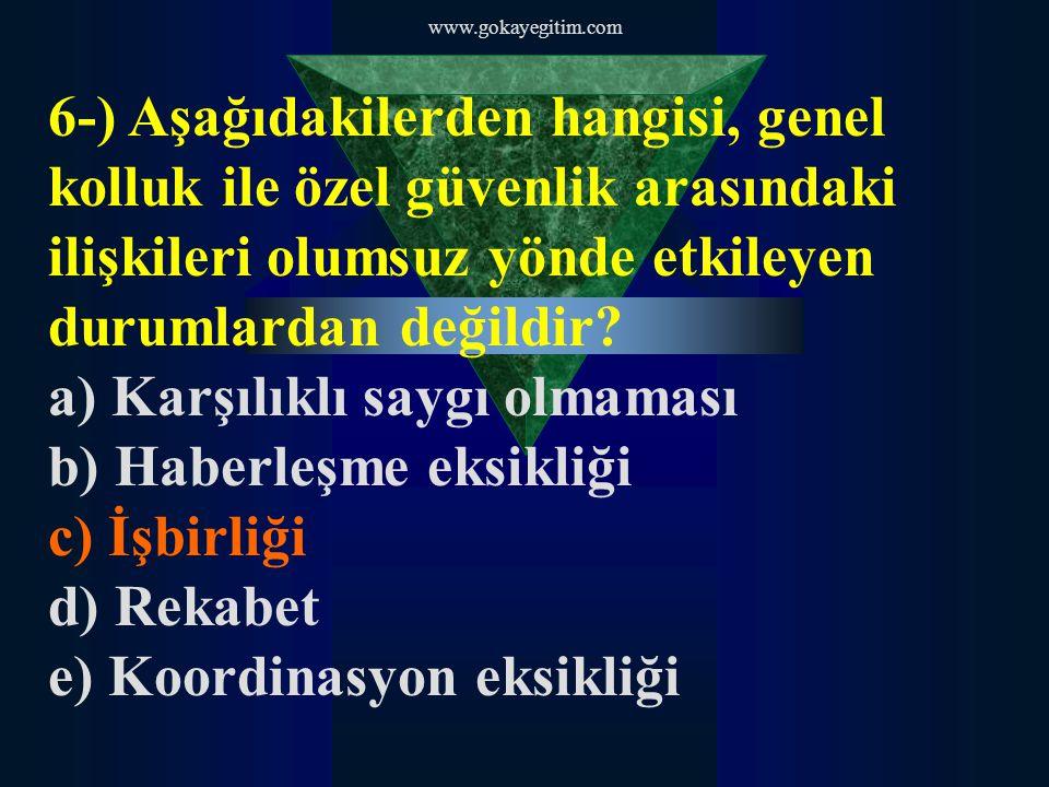 www.gokayegitim.com 6-) Aşağıdakilerden hangisi, genel kolluk ile özel güvenlik arasındaki ilişkileri olumsuz yönde etkileyen durumlardan değildir? a)