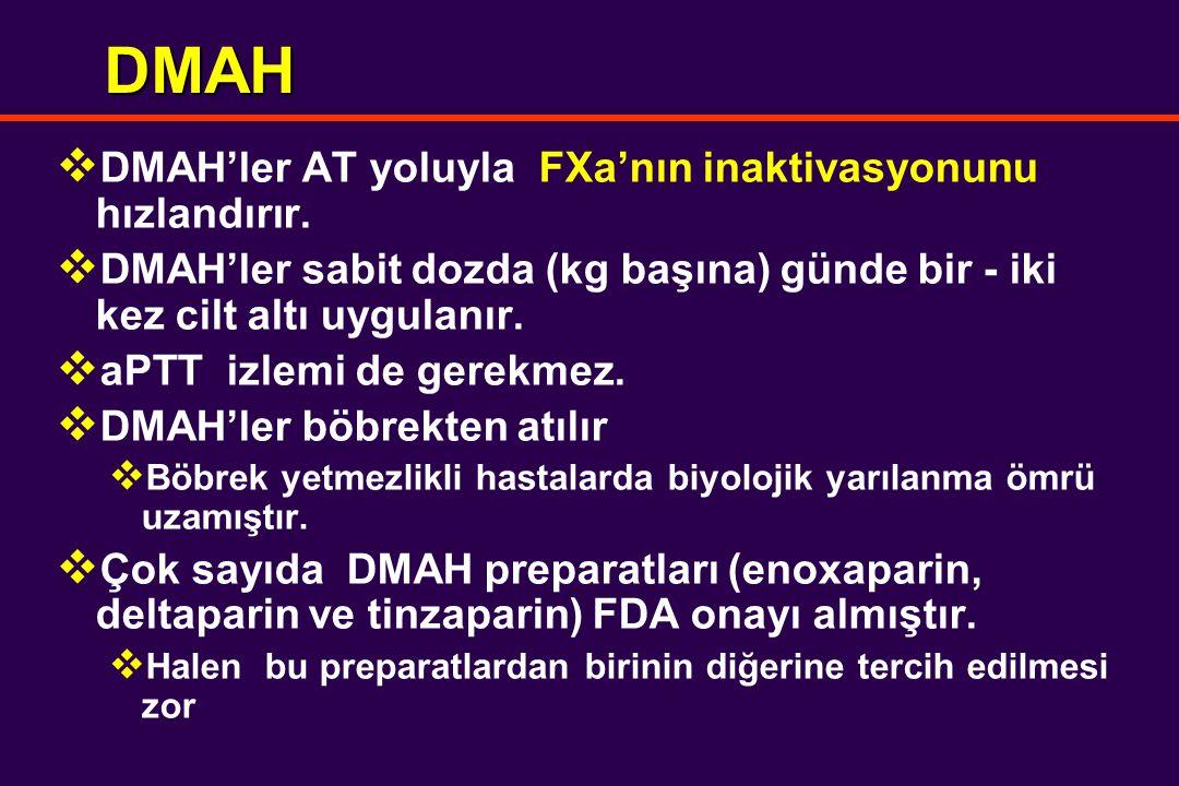 DMAH  DMAH'ler AT yoluyla FXa'nın inaktivasyonunu hızlandırır.  DMAH'ler sabit dozda (kg başına) günde bir - iki kez cilt altı uygulanır.  aPTT izl
