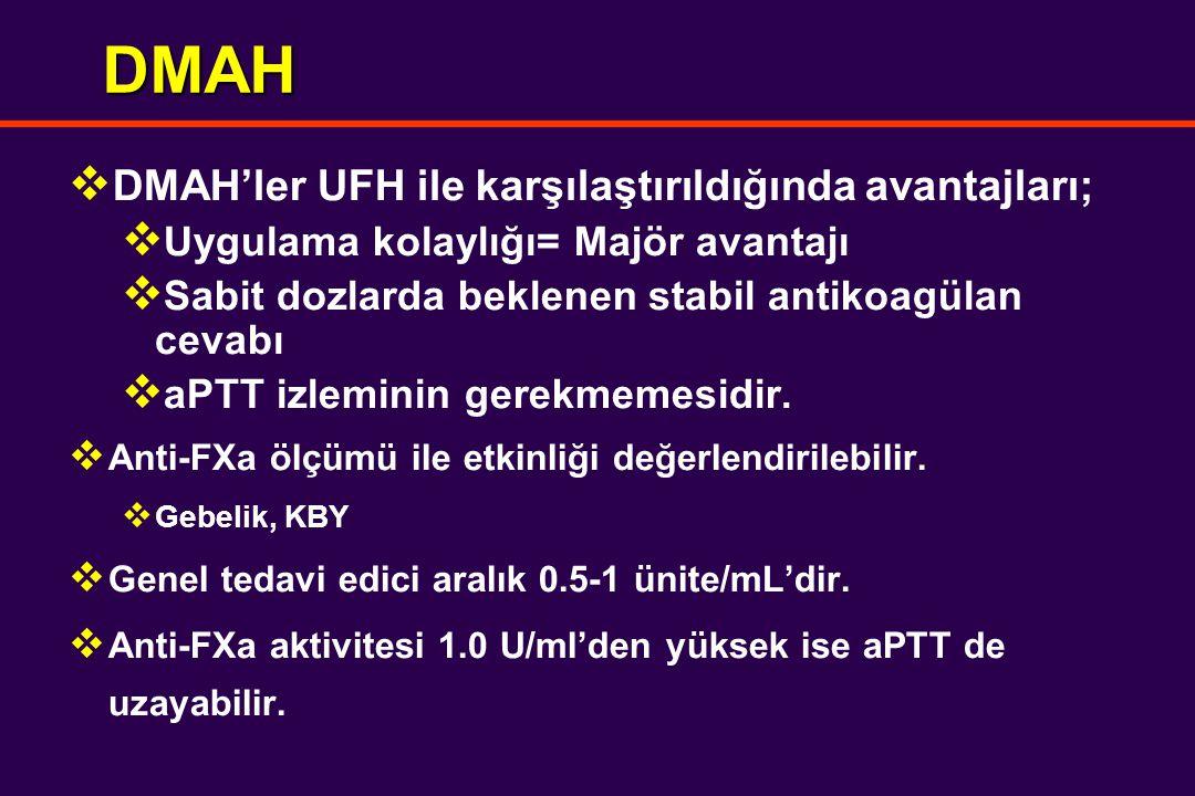 DMAH  DMAH'ler UFH ile karşılaştırıldığında avantajları;  Uygulama kolaylığı= Majör avantajı  Sabit dozlarda beklenen stabil antikoagülan cevabı  aPTT izleminin gerekmemesidir.