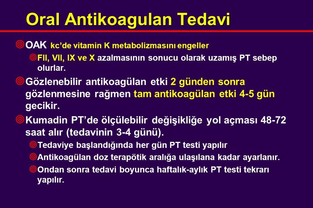 Oral Antikoagulan Tedavi ¥ OAK kc'de vitamin K metabolizmasını engeller ¥ FII, VII, IX ve X azalmasının sonucu olarak uzamış PT sebep olurlar. ¥ Gözle