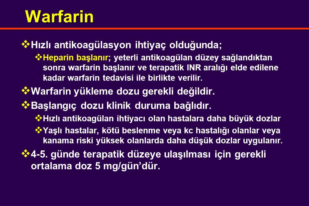 Warfarin  Hızlı antikoagülasyon ihtiyaç olduğunda;  Heparin başlanır; yeterli antikoagülan düzey sağlandıktan sonra warfarin başlanır ve terapatik INR aralığı elde edilene kadar warfarin tedavisi ile birlikte verilir.