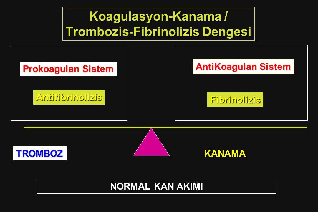 Koagulasyon-Kanama / Trombozis-Fibrinolizis Dengesi Antifibrinolizis AntiKoagulan Sistem Fibrinolizis Prokoagulan Sistem NORMAL KAN AKIMI TROMBOZKANAM
