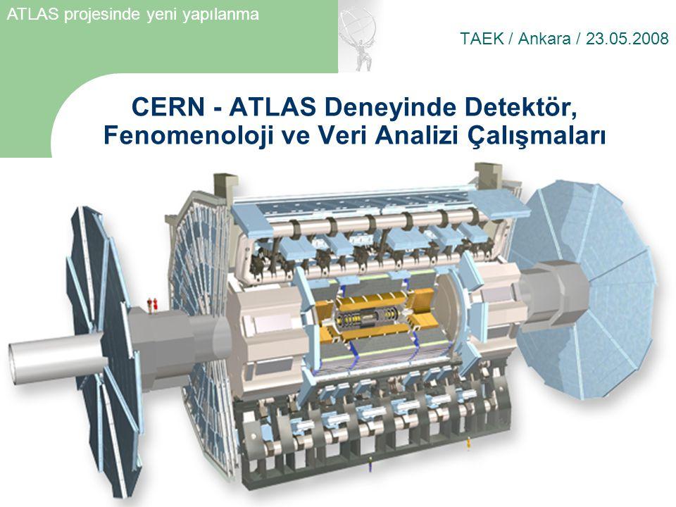 CERN - ATLAS Deneyinde Detektör, Fenomenoloji ve Veri Analizi Çalışmaları TAEK / Ankara / 23.05.2008 ATLAS projesinde yeni yapılanma