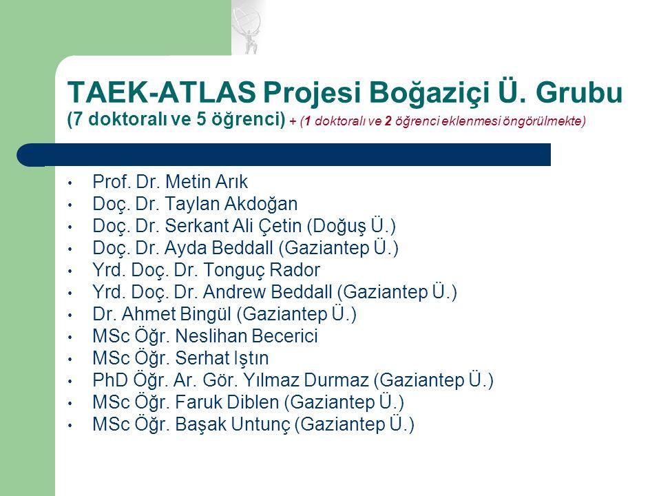 TAEK-ATLAS Projesi Boğaziçi Ü. Grubu (7 doktoralı ve 5 öğrenci) + (1 doktoralı ve 2 öğrenci eklenmesi öngörülmekte) Prof. Dr. Metin Arık Doç. Dr. Tayl