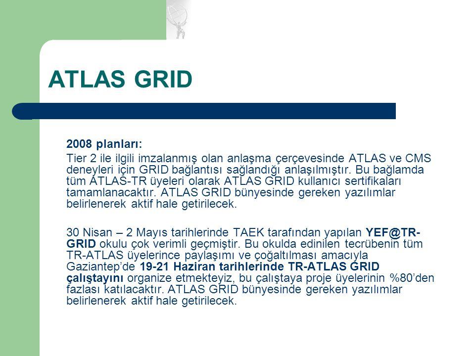 ATLAS GRID 2008 planları: Tier 2 ile ilgili imzalanmış olan anlaşma çerçevesinde ATLAS ve CMS deneyleri için GRID bağlantısı sağlandığı anlaşılmıştır.
