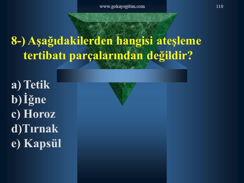www.gokayegitim.com110 8-) Aşağıdakilerden hangisi ateşleme tertibatı parçalarından değildir? a)Tetik b)İğne c)Horoz d)Tırnak e) Kapsül