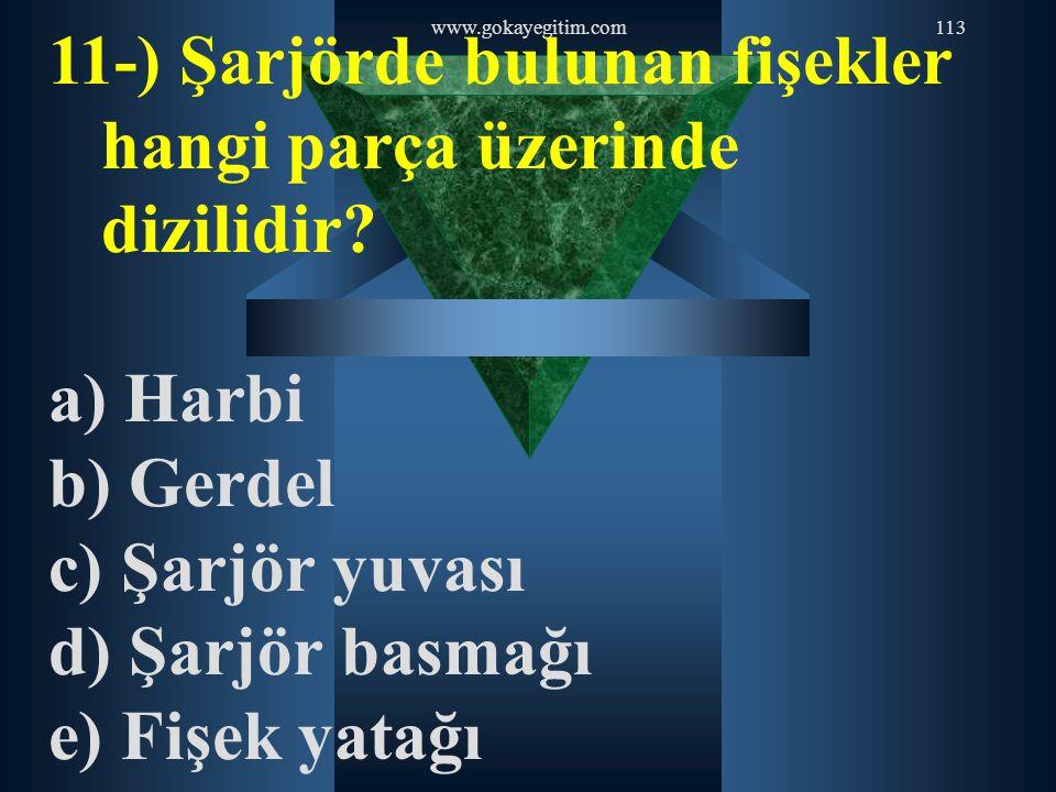 www.gokayegitim.com113 11-) Şarjörde bulunan fişekler hangi parça üzerinde dizilidir? a) Harbi b) Gerdel c) Şarjör yuvası d) Şarjör basmağı e) Fişek y