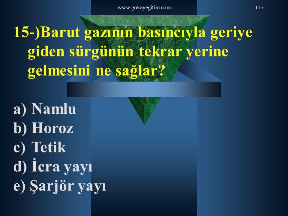 www.gokayegitim.com117 15-)Barut gazının basıncıyla geriye giden sürgünün tekrar yerine gelmesini ne sağlar? a) Namlu b) Horoz c) Tetik d) İcra yayı e