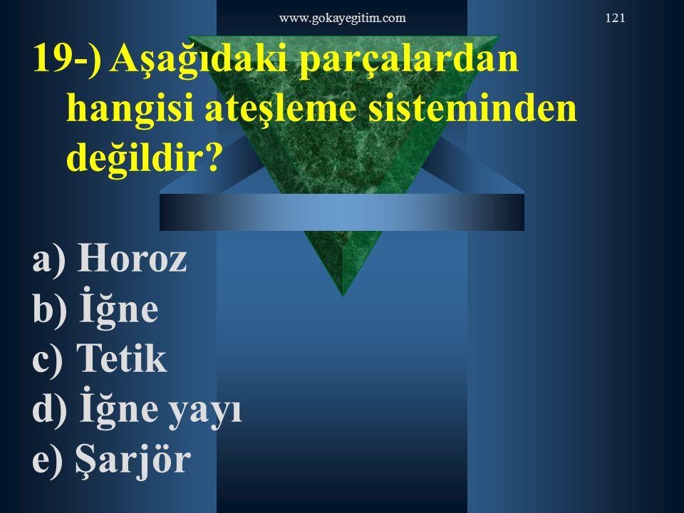 www.gokayegitim.com121 19-) Aşağıdaki parçalardan hangisi ateşleme sisteminden değildir? a) Horoz b) İğne c) Tetik d) İğne yayı e) Şarjör