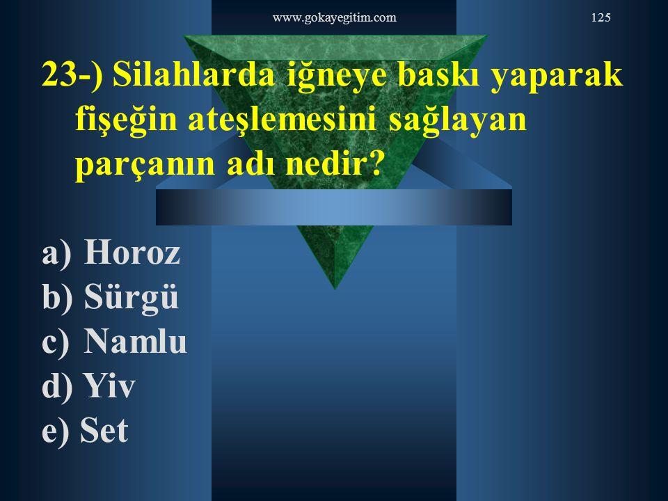 www.gokayegitim.com125 23-) Silahlarda iğneye baskı yaparak fişeğin ateşlemesini sağlayan parçanın adı nedir? a) Horoz b) Sürgü c) Namlu d) Yiv e) Set