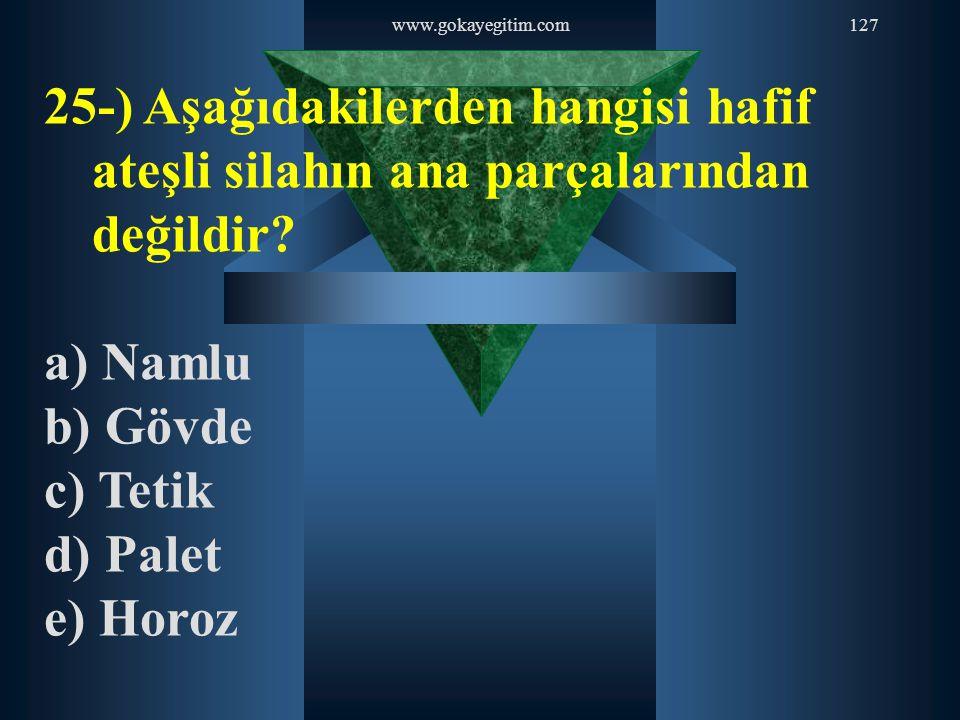 www.gokayegitim.com127 25-) Aşağıdakilerden hangisi hafif ateşli silahın ana parçalarından değildir? a) Namlu b) Gövde c) Tetik d) Palet e) Horoz