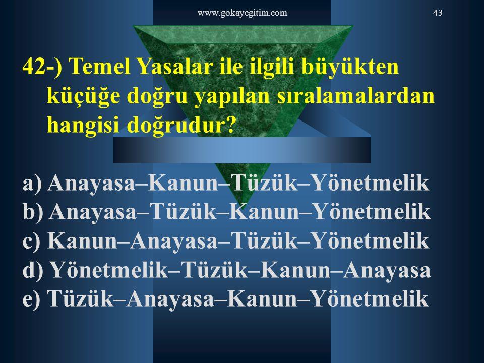 www.gokayegitim.com43 42-) Temel Yasalar ile ilgili büyükten küçüğe doğru yapılan sıralamalardan hangisi doğrudur? a) Anayasa–Kanun–Tüzük–Yönetmelik b
