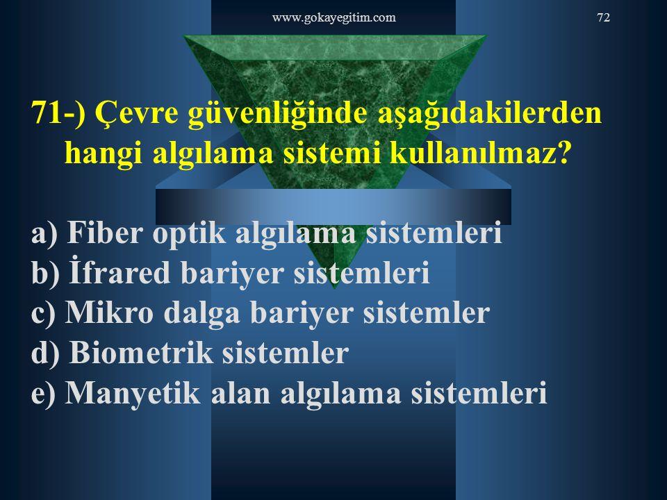 www.gokayegitim.com72 71-) Çevre güvenliğinde aşağıdakilerden hangi algılama sistemi kullanılmaz? a) Fiber optik algılama sistemleri b) İfrared bariye