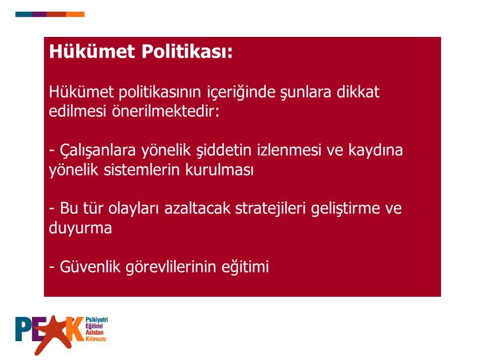 Hükümet Politikası: Hükümet politikasının içeriğinde şunlara dikkat edilmesi önerilmektedir: - Çalışanlara yönelik şiddetin izlenmesi ve kaydına yönel
