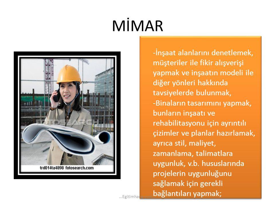 MİMAR -İnşaat alanlarını denetlemek, müşteriler ile fikir alışverişi yapmak ve inşaatın modeli ile diğer yönleri hakkında tavsiyelerde bulunmak, -Bina