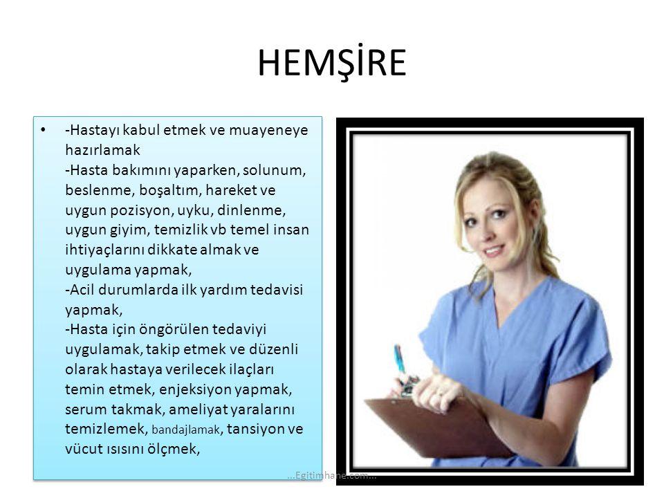 HEMŞİRE -Hastayı kabul etmek ve muayeneye hazırlamak -Hasta bakımını yaparken, solunum, beslenme, boşaltım, hareket ve uygun pozisyon, uyku, dinlenme,
