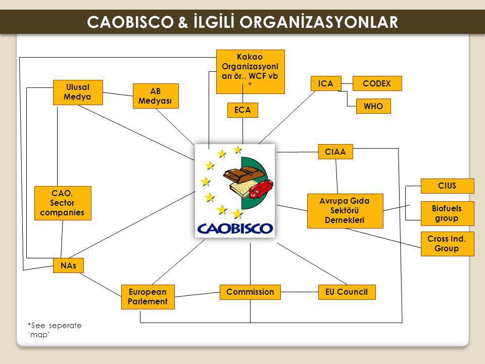 ICACODEX WHO CIAA Avrupa Gıda Sektörü Dernekleri Ulusal Medya AB Medyası CAO. Sector companies NAs European Parlement Commission Kakao Organizasyonl a