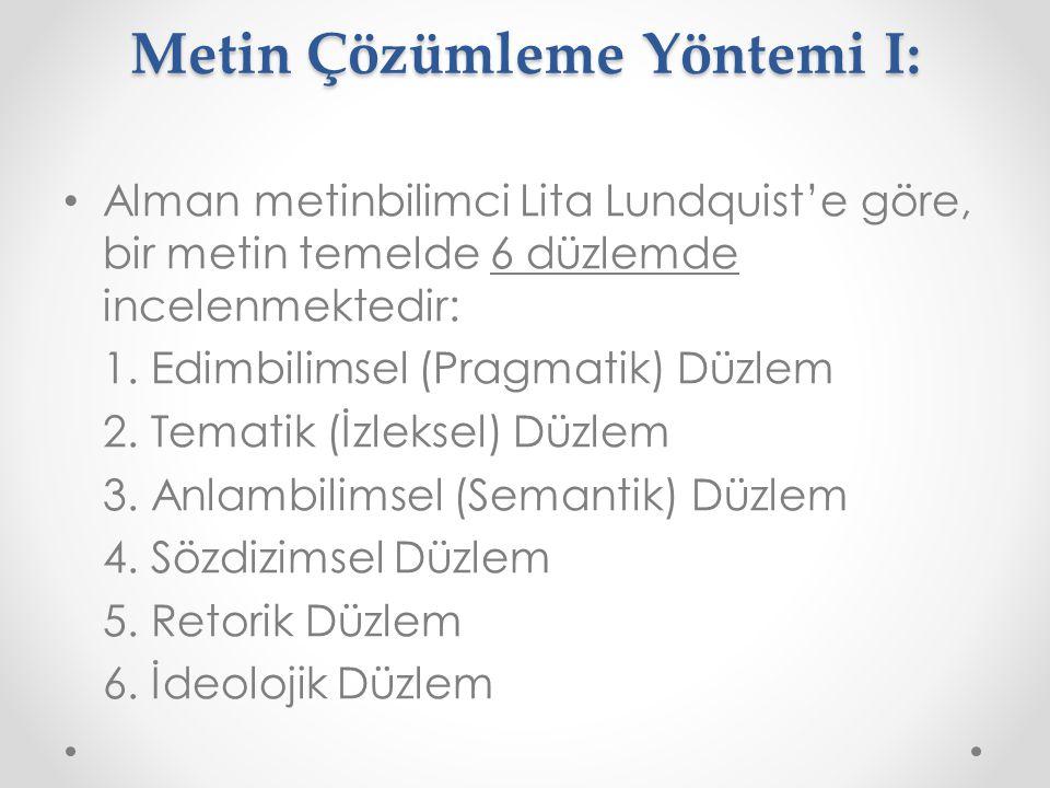 Metin Çözümleme Yöntemi I: Alman metinbilimci Lita Lundquist'e göre, bir metin temelde 6 düzlemde incelenmektedir: 1. Edimbilimsel (Pragmatik) Düzlem