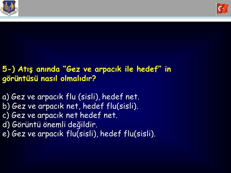 """5-) Atış anında """"Gez ve arpacık ile hedef"""" in görüntüsü nasıl olmalıdır? a) Gez ve arpacık flu (sisli), hedef net. b) Gez ve arpacık net, hedef flu(si"""