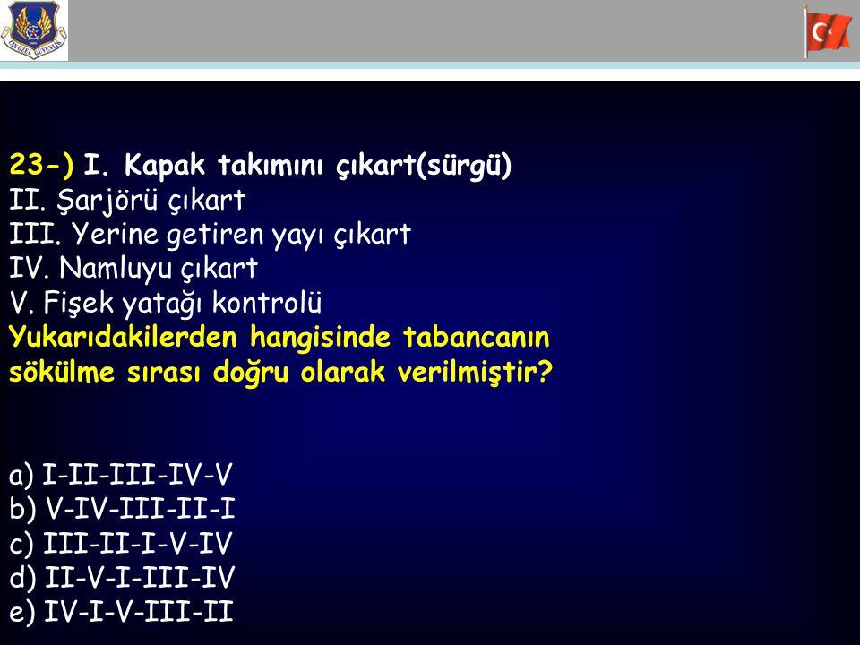 23-) I.Kapak takımını çıkart(sürgü) II. Şarjörü çıkart III.