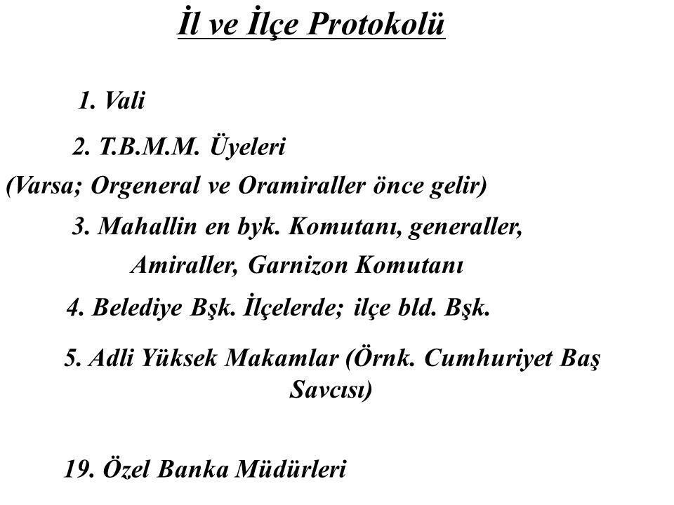 İl ve İlçe Protokolü 1.Vali 2. T.B.M.M. Üyeleri (Varsa; Orgeneral ve Oramiraller önce gelir) 3.