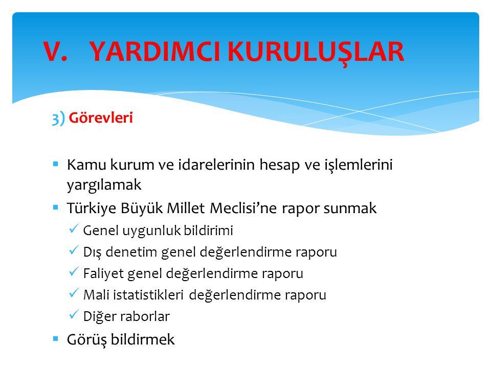 3) Görevleri  Kamu kurum ve idarelerinin hesap ve işlemlerini yargılamak  Türkiye Büyük Millet Meclisi'ne rapor sunmak Genel uygunluk bildirimi Dış