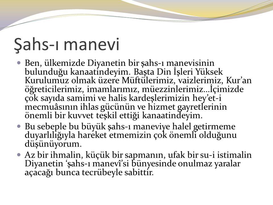 Şahs-ı manevi Ben, ülkemizde Diyanetin bir şahs-ı manevisinin bulunduğu kanaatindeyim. Başta Din İşleri Yüksek Kurulumuz olmak üzere Müftülerimiz, vai