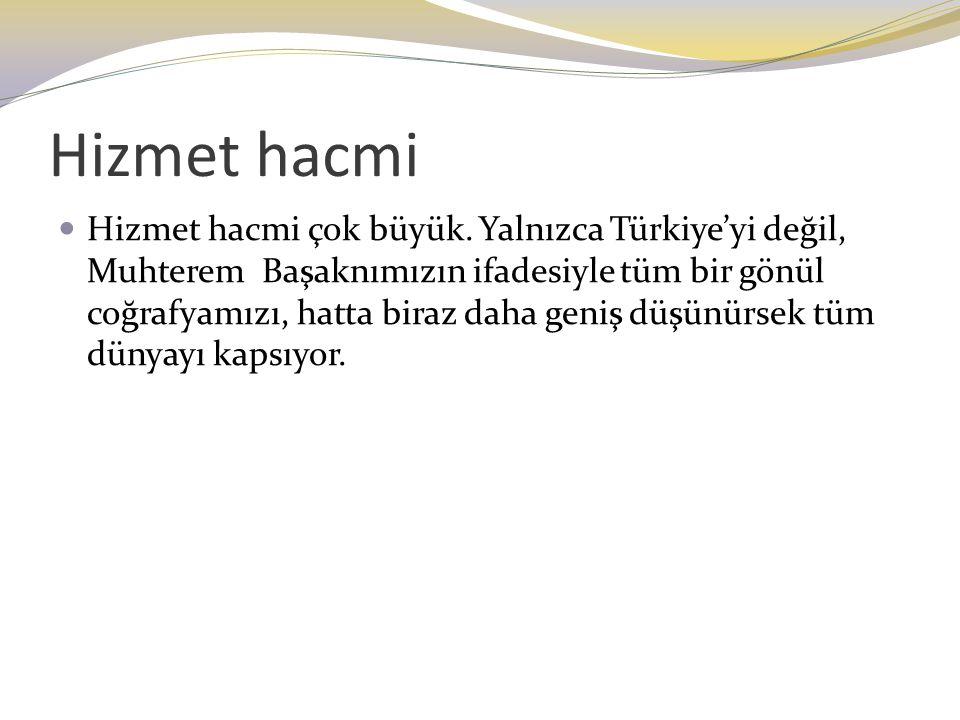 Hizmet hacmi Hizmet hacmi çok büyük. Yalnızca Türkiye'yi değil, Muhterem Başaknımızın ifadesiyle tüm bir gönül coğrafyamızı, hatta biraz daha geniş dü
