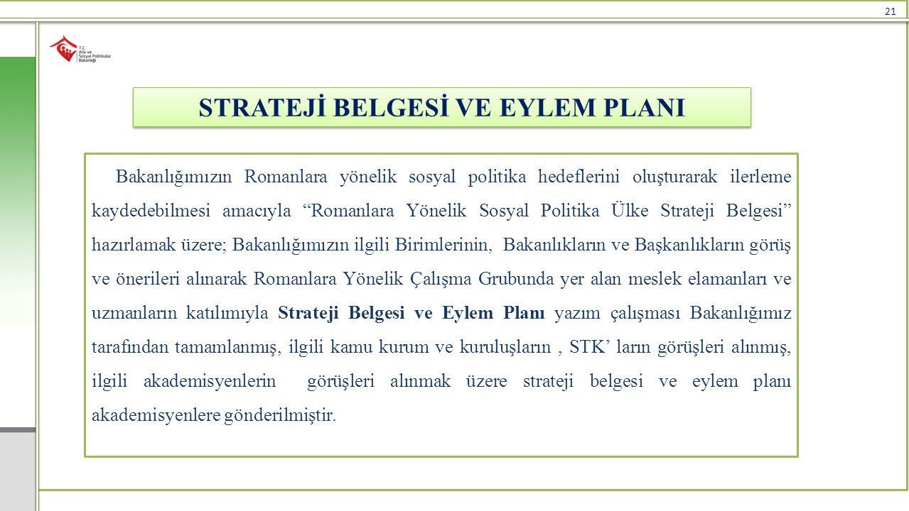 """21 STRATEJİ BELGESİ VE EYLEM PLANI Bakanlığımızın Romanlara yönelik sosyal politika hedeflerini oluşturarak ilerleme kaydedebilmesi amacıyla """"Romanlar"""