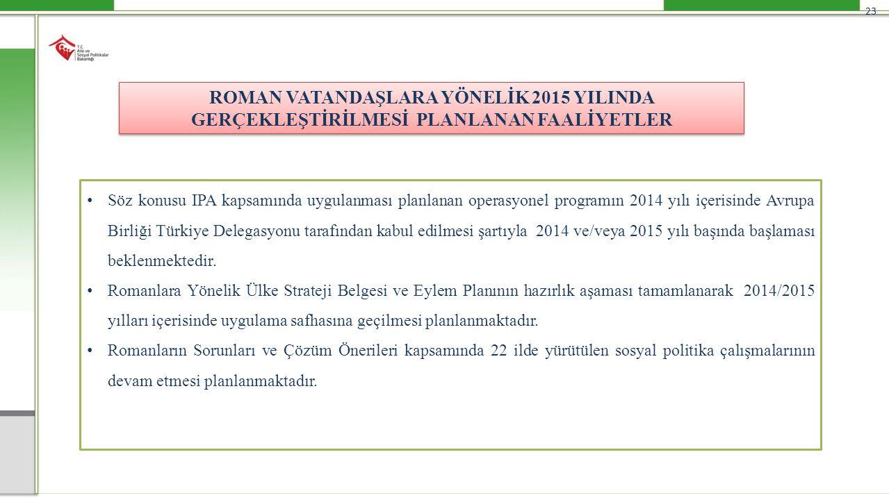 23 ROMAN VATANDAŞLARA YÖNELİK 2015 YILINDA GERÇEKLEŞTİRİLMESİ PLANLANAN FAALİYETLER Söz konusu IPA kapsamında uygulanması planlanan operasyonel progra