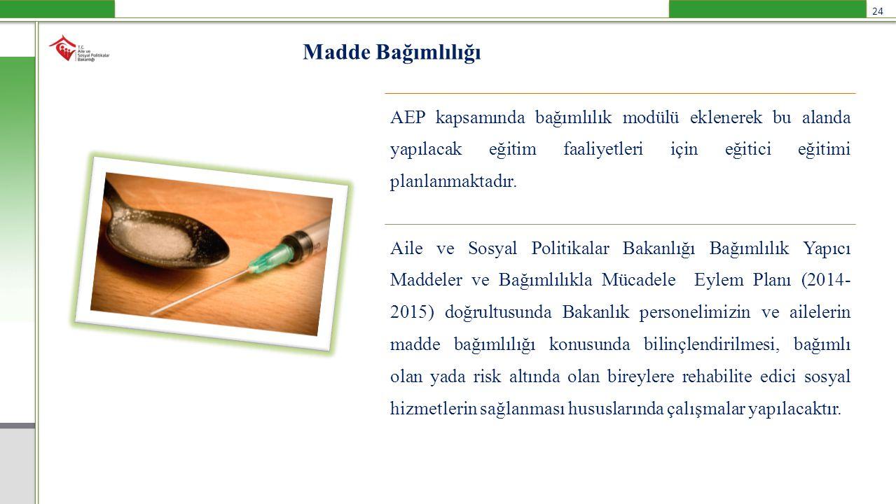 Madde Bağımlılığı AEP kapsamında bağımlılık modülü eklenerek bu alanda yapılacak eğitim faaliyetleri için eğitici eğitimi planlanmaktadır. Aile ve Sos