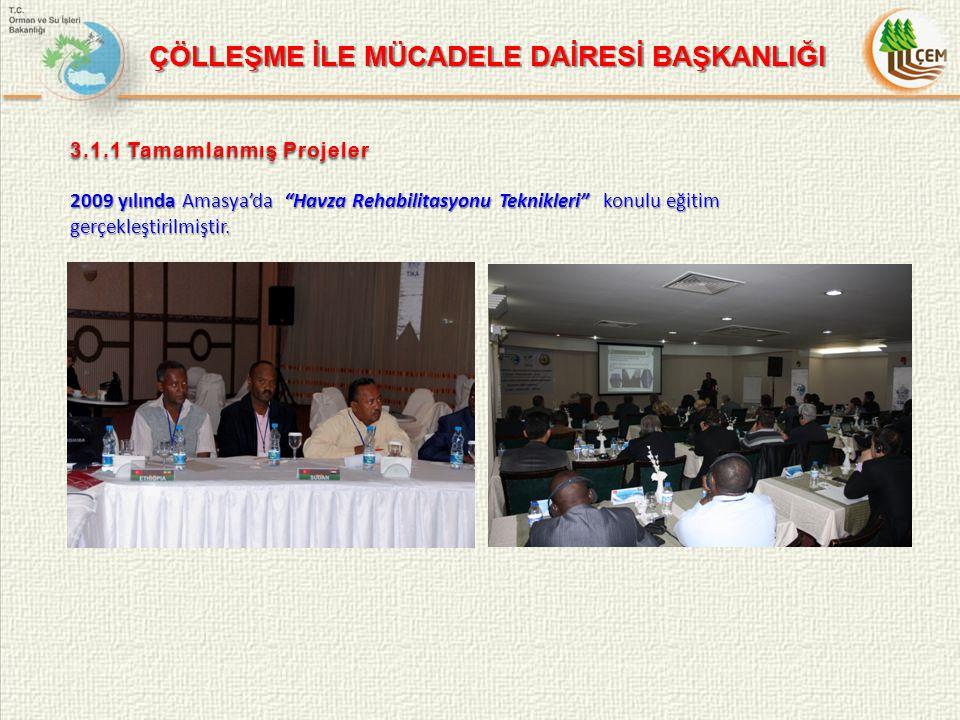 3.1.1 Tamamlanmış Projeler 2009 yılında Amasya'da Havza Rehabilitasyonu Teknikleri konulu eğitim gerçekleştirilmiştir.