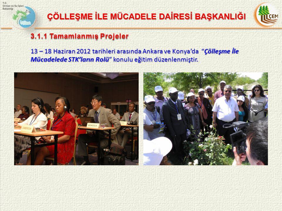 3.1.1 Tamamlanmış Projeler 13 – 18 Haziran 2012 tarihleri arasında Ankara ve Konya'da Çölleşme İle Mücadelede STK'ların Rolü konulu eğitim düzenlenmiştir.