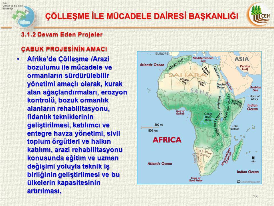 3.1.2 Devam Eden Projeler ÇABUK PROJESİNİN AMACI Afrika'da Çölleşme /Arazi bozulumu ile mücadele ve ormanların sürdürülebilir yönetimi amaçlı olarak, kurak alan ağaçlandırmaları, erozyon kontrolü, bozuk ormanlık alanların rehabilitasyonu, fidanlık tekniklerinin geliştirilmesi, katılımcı ve entegre havza yönetimi, sivil toplum örgütleri ve halkın katılımı, arazi rehabilitasyonu konusunda eğitim ve uzman değişimi yoluyla teknik iş birliğinin geliştirilmesi ve bu ülkelerin kapasitesinin artırılması,Afrika'da Çölleşme /Arazi bozulumu ile mücadele ve ormanların sürdürülebilir yönetimi amaçlı olarak, kurak alan ağaçlandırmaları, erozyon kontrolü, bozuk ormanlık alanların rehabilitasyonu, fidanlık tekniklerinin geliştirilmesi, katılımcı ve entegre havza yönetimi, sivil toplum örgütleri ve halkın katılımı, arazi rehabilitasyonu konusunda eğitim ve uzman değişimi yoluyla teknik iş birliğinin geliştirilmesi ve bu ülkelerin kapasitesinin artırılması, 28 ÇÖLLEŞME İLE MÜCADELE DAİRESİ BAŞKANLIĞI