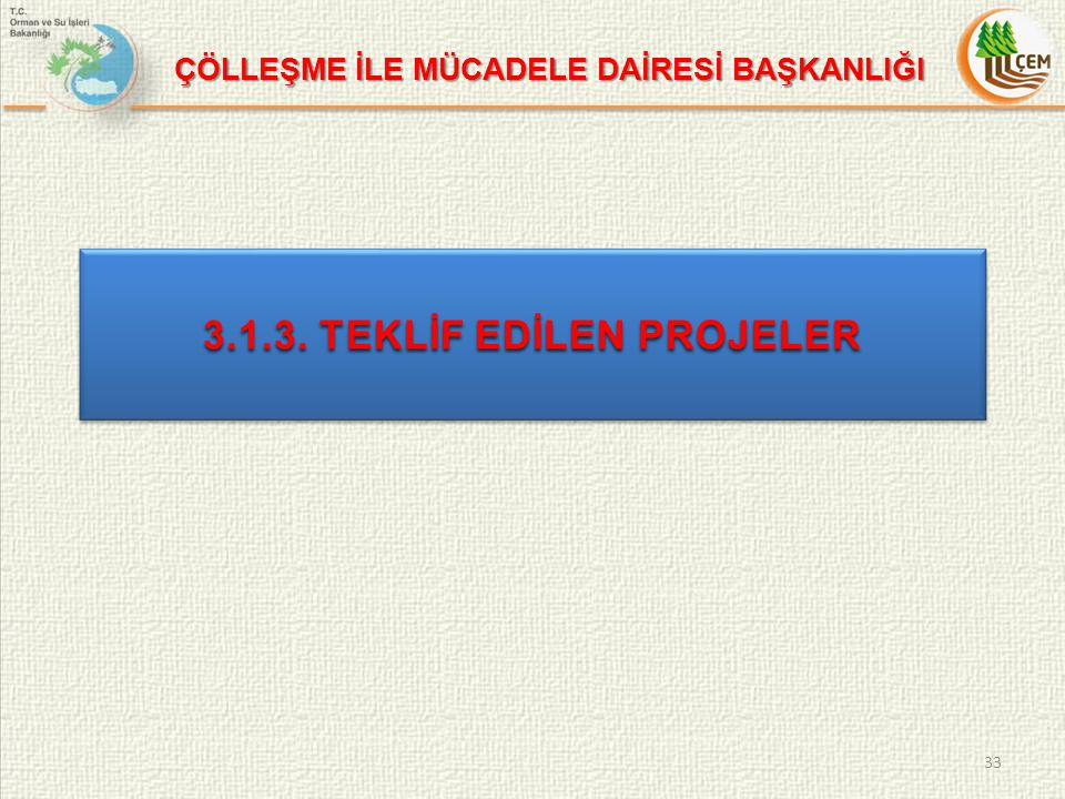 3.1.3. TEKLİF EDİLEN PROJELER 33 ÇÖLLEŞME İLE MÜCADELE DAİRESİ BAŞKANLIĞI