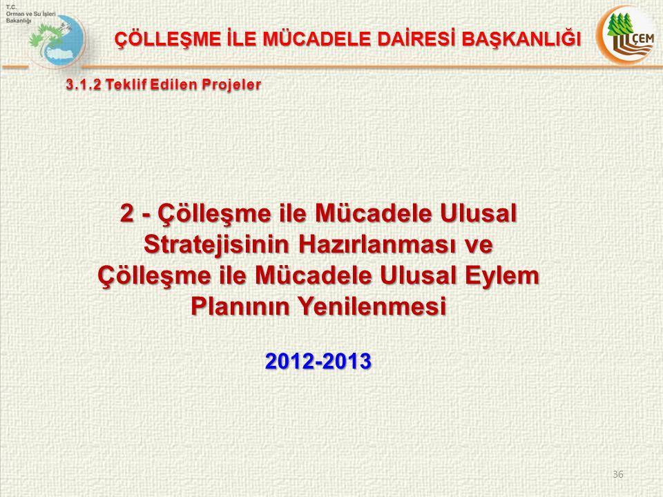 2 - Çölleşme ile Mücadele Ulusal Stratejisinin Hazırlanması ve Çölleşme ile Mücadele Ulusal Eylem Planının Yenilenmesi 2012-2013 36 ÇÖLLEŞME İLE MÜCADELE DAİRESİ BAŞKANLIĞI 3.1.2 Teklif Edilen Projeler