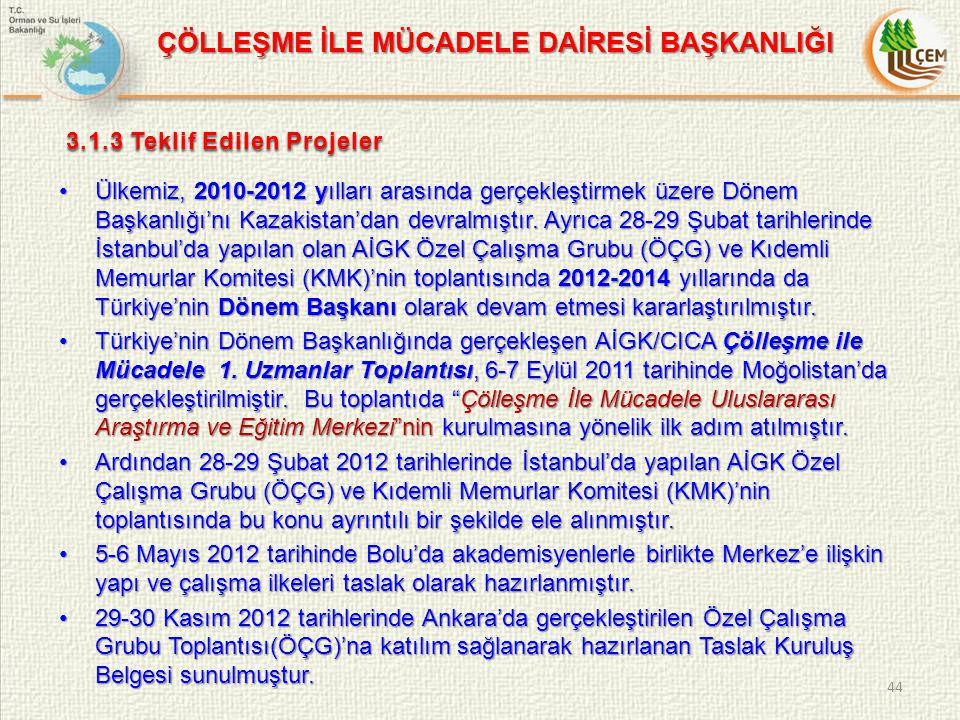 Ülkemiz, 2010-2012 yılları arasında gerçekleştirmek üzere Dönem Başkanlığı'nı Kazakistan'dan devralmıştır.