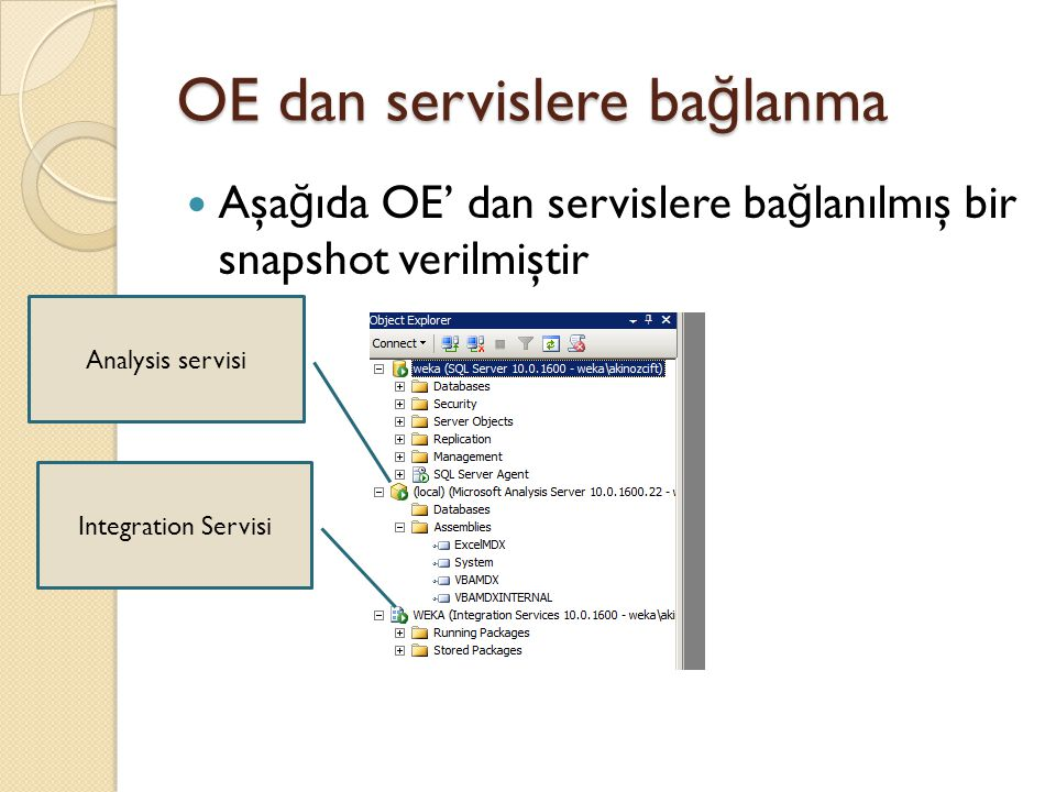 OE dan servislere ba ğ lanma Aşa ğ ıda OE' dan servislere ba ğ lanılmış bir snapshot verilmiştir Analysis servisi Integration Servisi