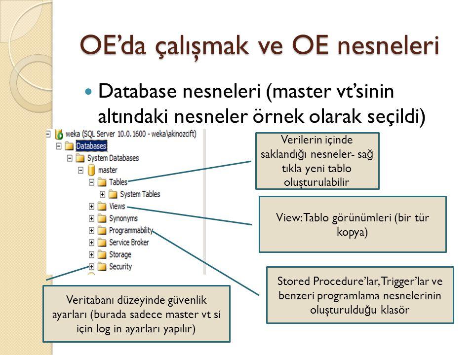 OE'da çalışmak ve OE nesneleri Database nesneleri (master vt'sinin altındaki nesneler örnek olarak seçildi) Verilerin içinde saklandı ğ ı nesneler- sa
