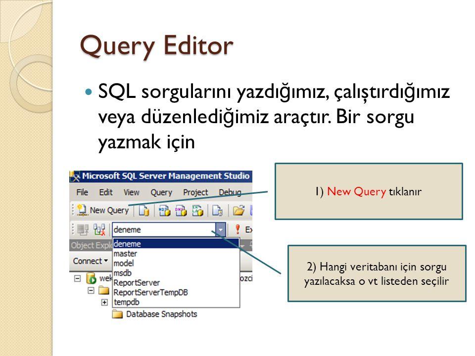 Query Editor SQL sorgularını yazdı ğ ımız, çalıştırdı ğ ımız veya düzenledi ğ imiz araçtır. Bir sorgu yazmak için 1) New Query tıklanır 2) Hangi verit