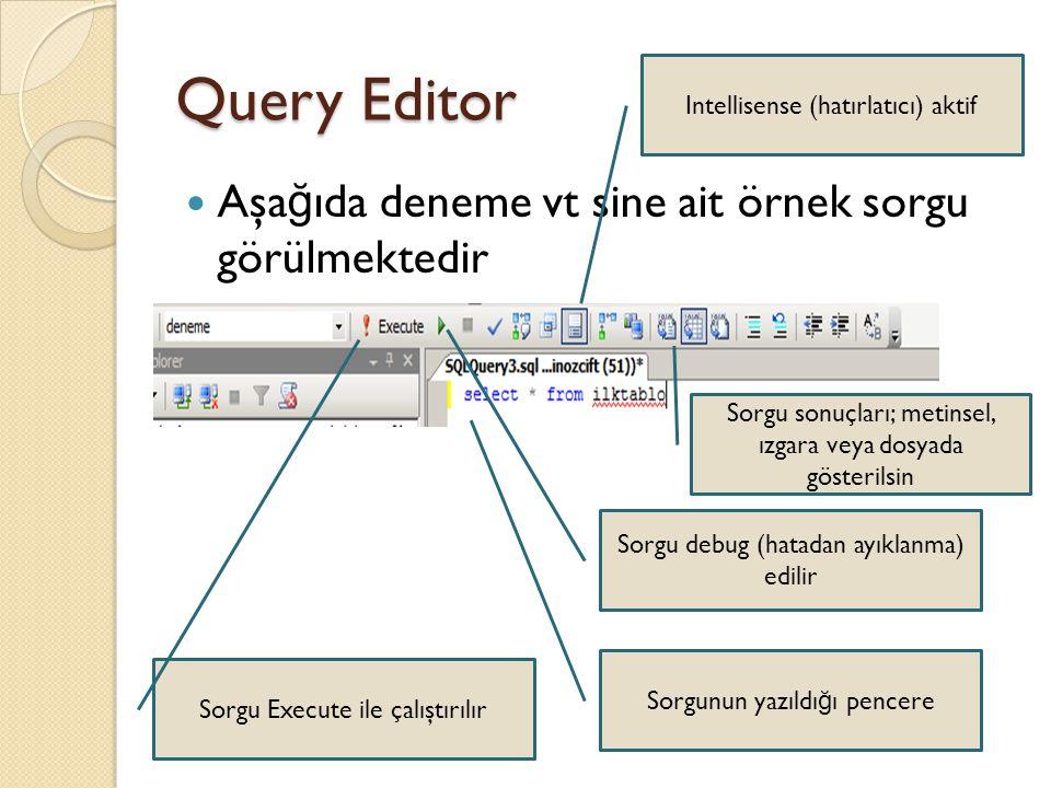 Query Editor Aşa ğ ıda deneme vt sine ait örnek sorgu görülmektedir Sorgunun yazıldı ğ ı pencere Sorgu Execute ile çalıştırılır Sorgu debug (hatadan a