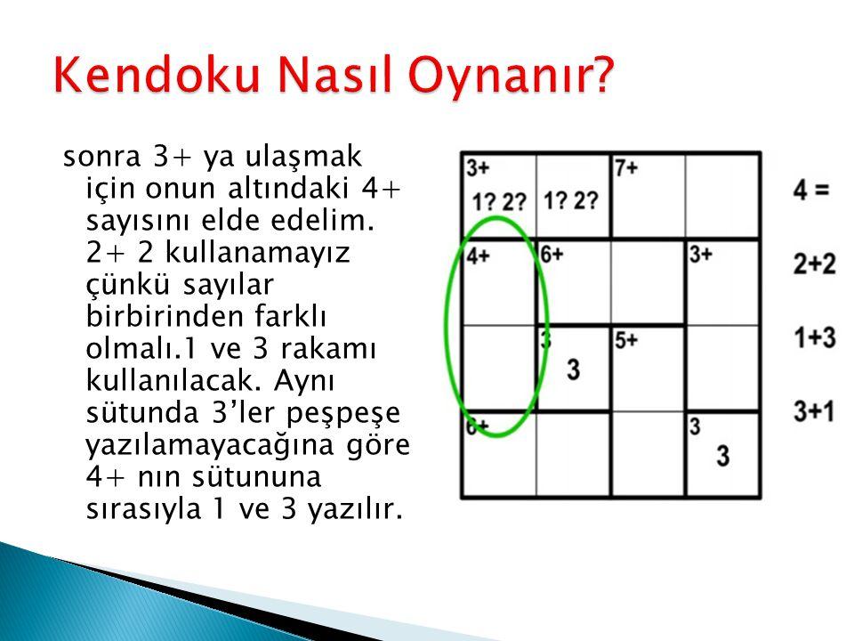 sonra 3+ ya ulaşmak için onun altındaki 4+ sayısını elde edelim. 2+ 2 kullanamayız çünkü sayılar birbirinden farklı olmalı.1 ve 3 rakamı kullanılacak.