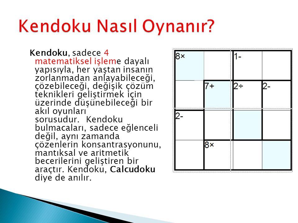 Kendoku, Sudoku ile bazı ortak noktalara sahip.