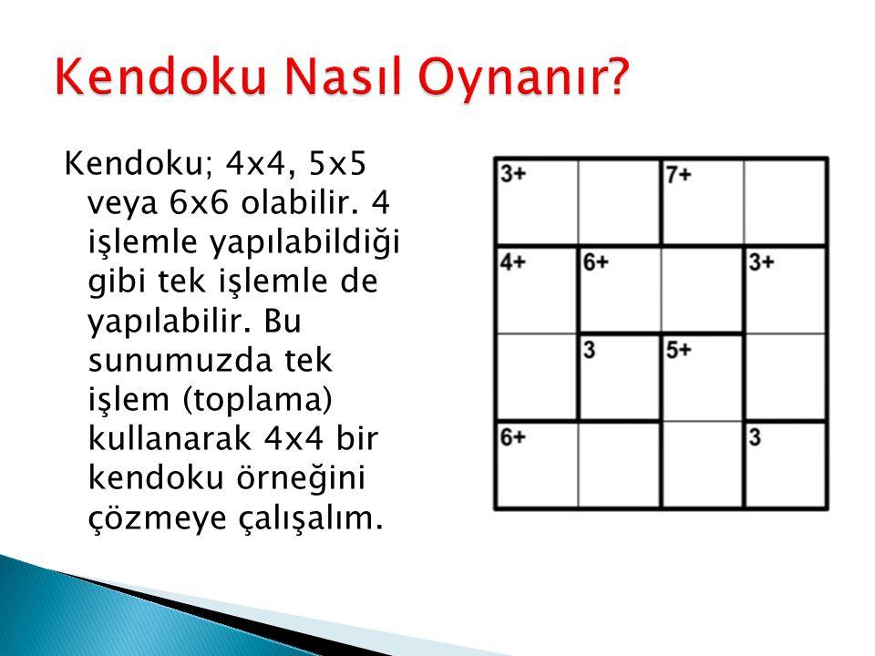Kendoku; 4x4, 5x5 veya 6x6 olabilir. 4 işlemle yapılabildiği gibi tek işlemle de yapılabilir. Bu sunumuzda tek işlem (toplama) kullanarak 4x4 bir kend