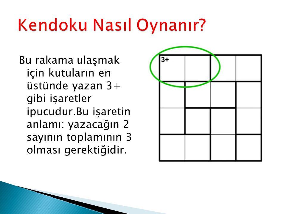 Bu rakama ulaşmak için kutuların en üstünde yazan 3+ gibi işaretler ipucudur.Bu işaretin anlamı: yazacağın 2 sayının toplamının 3 olması gerektiğidir.