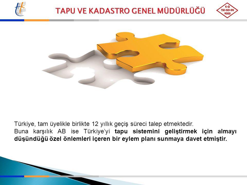 TAPU VE KADASTRO GENEL MÜDÜRLÜĞÜ Türkiye, tam üyelikle birlikte 12 yıllık geçiş süreci talep etmektedir. Buna karşılık AB ise Türkiye'yi tapu sistemin