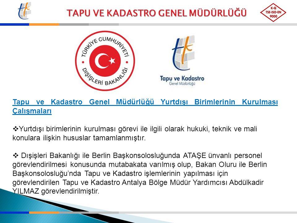 TAPU VE KADASTRO GENEL MÜDÜRLÜĞÜ Tapu ve Kadastro Genel Müdürlüğü Yurtdışı Birimlerinin Kurulması Çalışmaları  Yurtdışı birimlerinin kurulması görevi