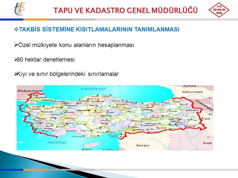  TAKBİS SİSTEMİNE KISITLAMALARININ TANIMLANMASI  Özel mülkiyete konu alanların hesaplanması  30 hektar denetlemesi  Kıyı ve sınır bölgelerindeki s