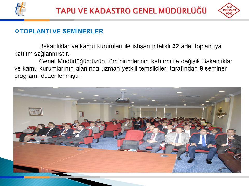 TAPU VE KADASTRO GENEL MÜDÜRLÜĞÜ  TOPLANTI VE SEMİNERLER Bakanlıklar ve kamu kurumları ile istişari nitelikli 32 adet toplantıya katılım sağlanmıştır